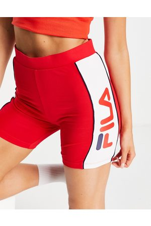 Fila Large logo legging shorts in red and white