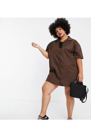 Lola May Lola May Plus short sleeve mini shirt dress in chocolate brown