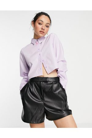 Noisy May Cropped shirt in lilac