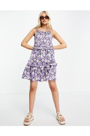 QED London Tie up cami swing dress in floral print