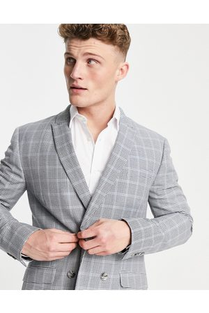 Topman Skinny double breasted suit jacket in grey check