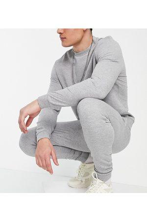 ASOS DESIGN Organic blend lightweight tracksuit with sweatshirt & skinny joggers in grey marl