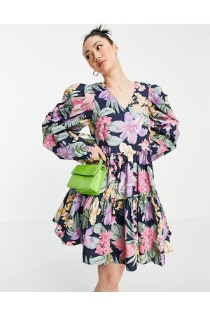 Y.A.S Organic cotton mini tiered smock dress with puff sleeve in bright floral