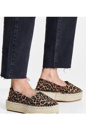 ASOS Wide Fit July flatform espadrilles in leopard