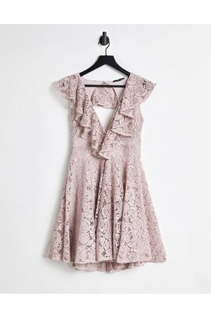 TFNC Lace mini skater dress with frill detail in mink