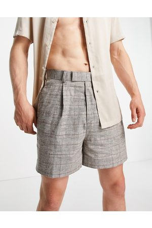 ASOS Cropped bermuda smart shorts in brown linen check