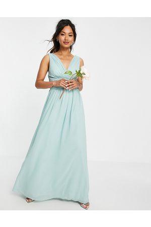 Little Mistress Bridesmaids v neck maxi dress in green