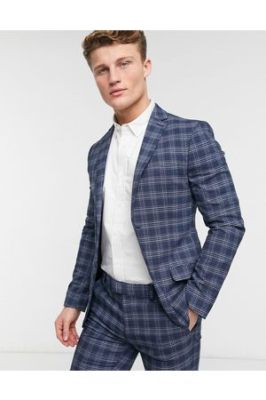 Topman Skinny single breasted suit jacket in blue check