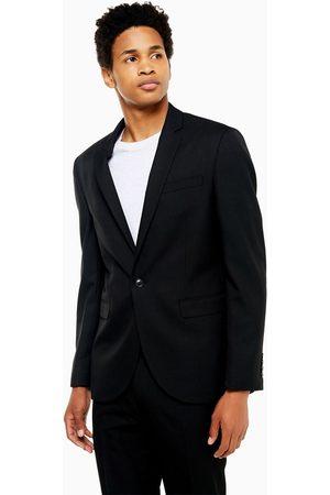 Topman Slim single breasted suit jacket in black