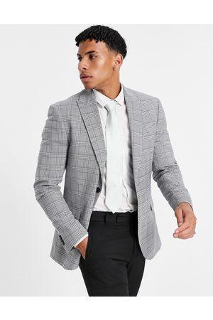 Topman Skinny single breasted suit jacket in grey check