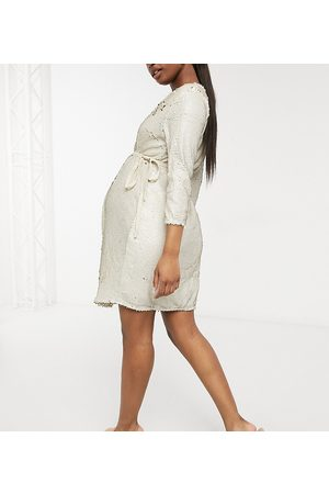 Little Mistress Maternity Wrap front velvet sequin mini dress in ivory