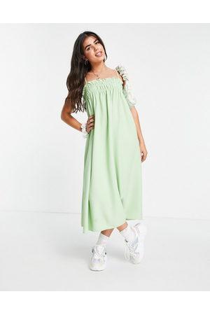 Lola May Shirred midaxi cami smock dress in wasabi green