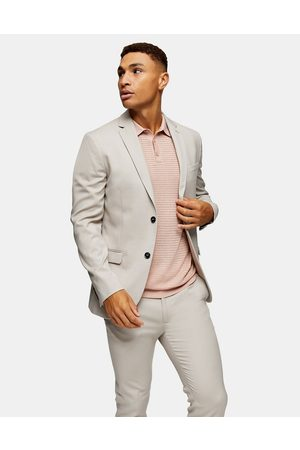 Topman Hombre Sacos - Skinny single breasted suit jacket in stone
