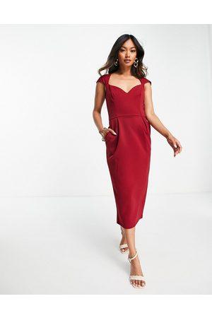 True Violet Squre neck midi dress in wine