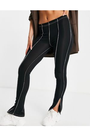 Fashionkilla Rib flares with exposed seams in black