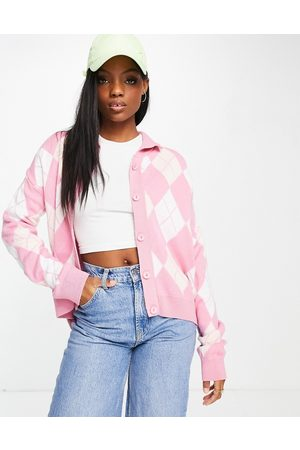 Unique 21 Mujer Cárdigans - Long sleeve argyle cardigan in pink