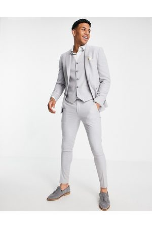 ASOS Wedding super skinny suit trousers in ice grey micro texture