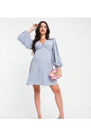 Glamorous Puff sleeve wrap dress in blue spot print