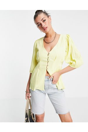 Fashion Union Smock top with frill sleeves in brown ditsy