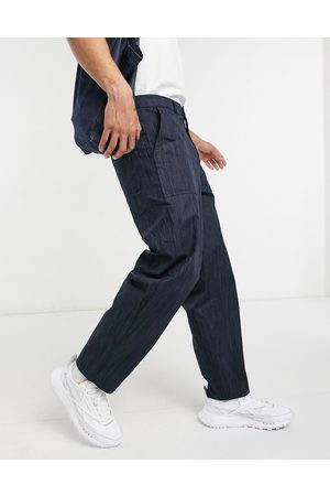ASOS Carpenter trousers in wide fit in texture fabric