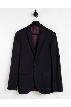 Topman Super skinny single breasted suit jacket in black