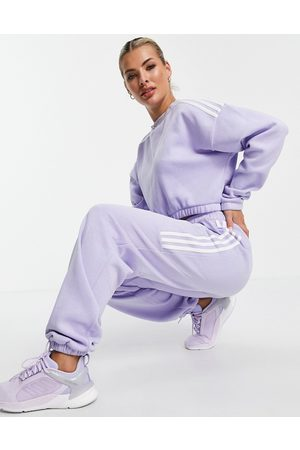 adidas Mujer Ropa deportiva - Adidas Training oversized joggers with three stripes in lilac