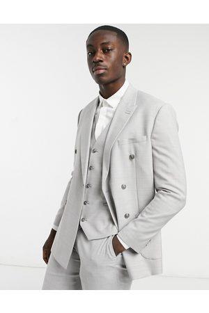 Topman Slim double breasted suit jacket in grey