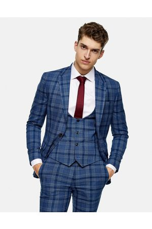 Topman Skinny suit waistcoat in blue check