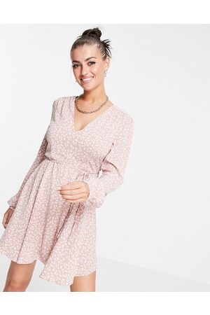 Glamorous Tie waist swing dress in pink ditsy floral