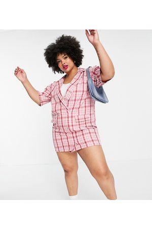 Lola May Lola May Plus mini blazer dress in pink check