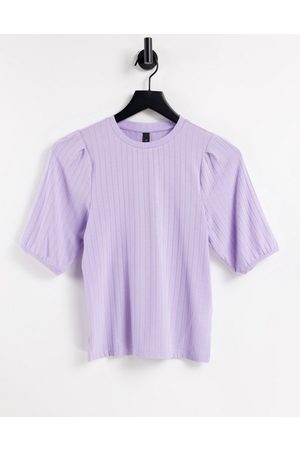 Y.A.S . 3/4 sleeve ribbed jersey top in lilac