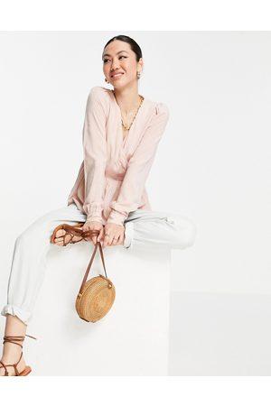 VERO MODA Aware peplum wrap blouse in pink
