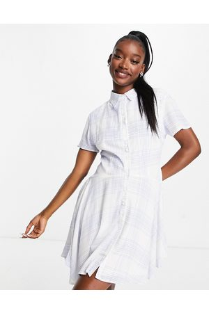 Missguided Skater shirt dress with button front in blue check