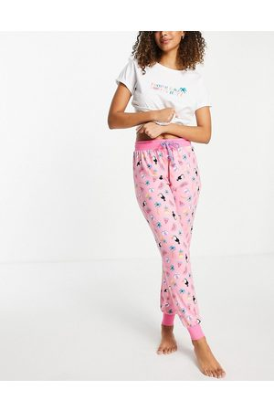 Chelsea Peers Tropic like its hot printed pyjama set in white and pink
