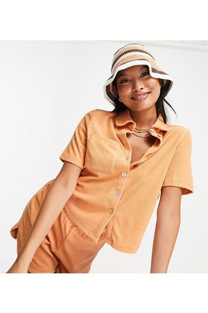 Pieces Organic cotton blend terry towelling polo top co