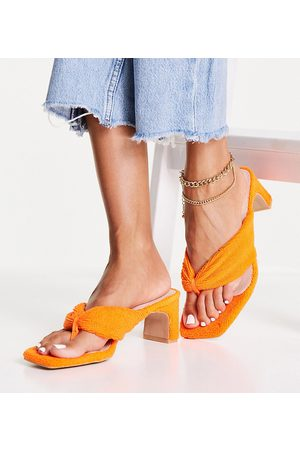 Raid Wide Fit Naryn toe post sandals in orange towelling