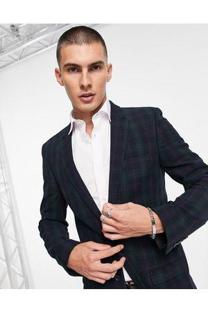 ASOS Super skinny suit jacket in blackwatch tartan