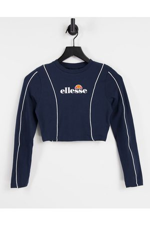 Ellesse Long sleeve crop top with piping in navy