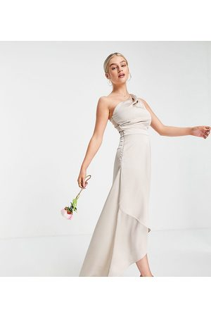 TFNC Bridesmaid one shoulder maxi dress in mink