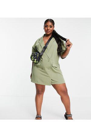 Lola May Curve Lola May Plus mini blazer dress in sage stripe