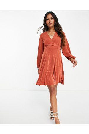 Closet Bell sleeve wrap mini dress in cinnamon