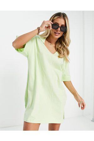 Threadbare Polo v neck mini dress in lime