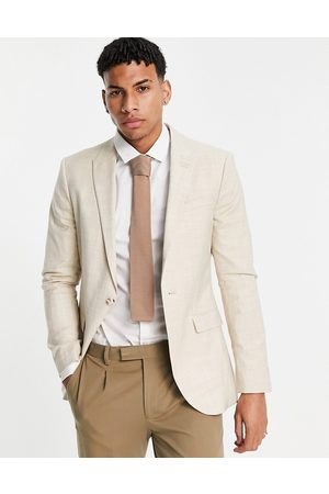 Topman Skinny single breasted suit jacket in stone