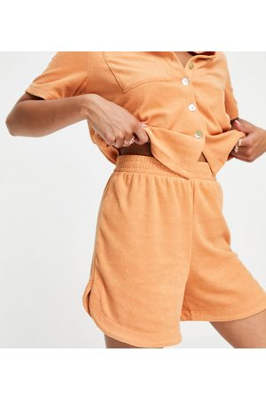 Pieces Petite Organic cotton blend terry towelling runner shorts co