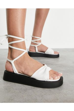 SIMMI Shoes Simmi London Naeva tie ankle flatform sandals in white