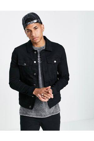 River Island Muscle fit denim jacket in black