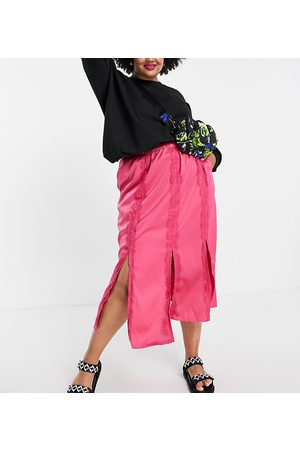 Lola May Curve Lola May Plus split front midi skirt with lace detail in hot pink