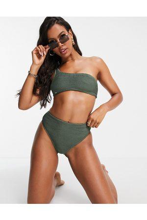 Free Society Mix and match one shoulder scrunch crop bikini top in khaki