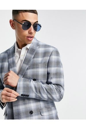 Topman Skinny double breasted suit jacket in blue check