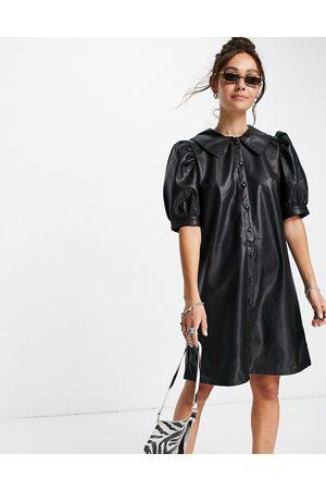 VILA Faux leather shirt dress in black